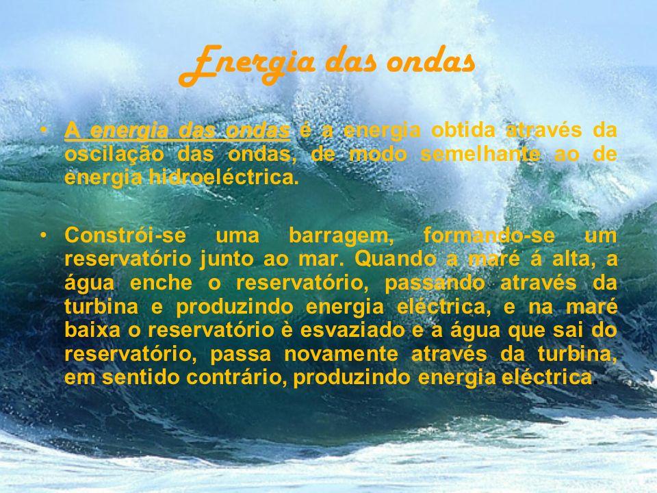 Energia das ondas A energia das ondasA energia das ondas é a energia obtida através da oscilação das ondas, de modo semelhante ao de energia hidroeléc