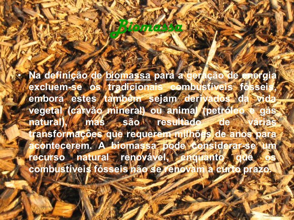 Biomassa Na definição de biomassa para a geração de energia excluem-se os tradicionais combustíveis fósseis, embora estes também sejam derivados da vi