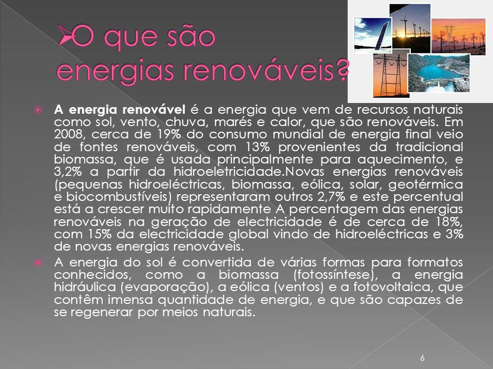 A energia renovável é a energia que vem de recursos naturais como sol, vento, chuva, marés e calor, que são renováveis.