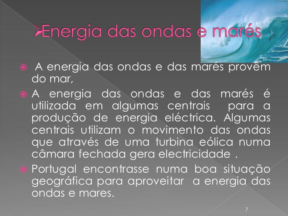 A energia das ondas e das marés provêm do mar, A energia das ondas e das marés é utilizada em algumas centrais para a produção de energia eléctrica.