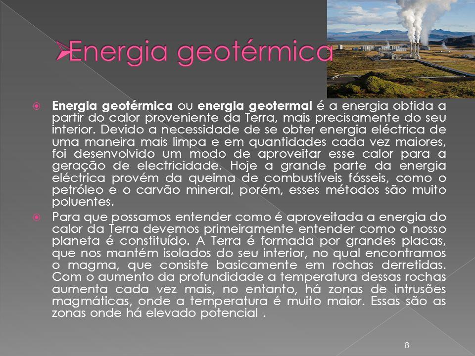 Fontes de energia geotérmica Quando não existem gêiseres, e as condições são favoráveis, é possível estimular o aquecimento de água usando o calor do interior da Terra.