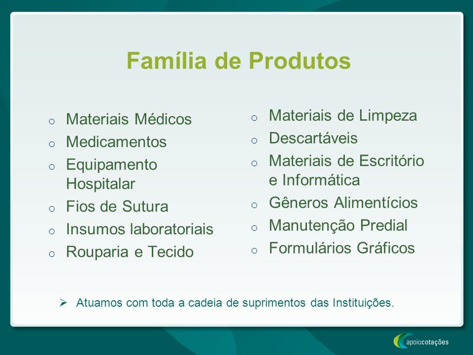 o Materiais Médicos o Medicamentos o Equipamento Hospitalar o Fios de Sutura o Insumos laboratoriais o Rouparia e Tecido o Materiais de Limpeza o Desc