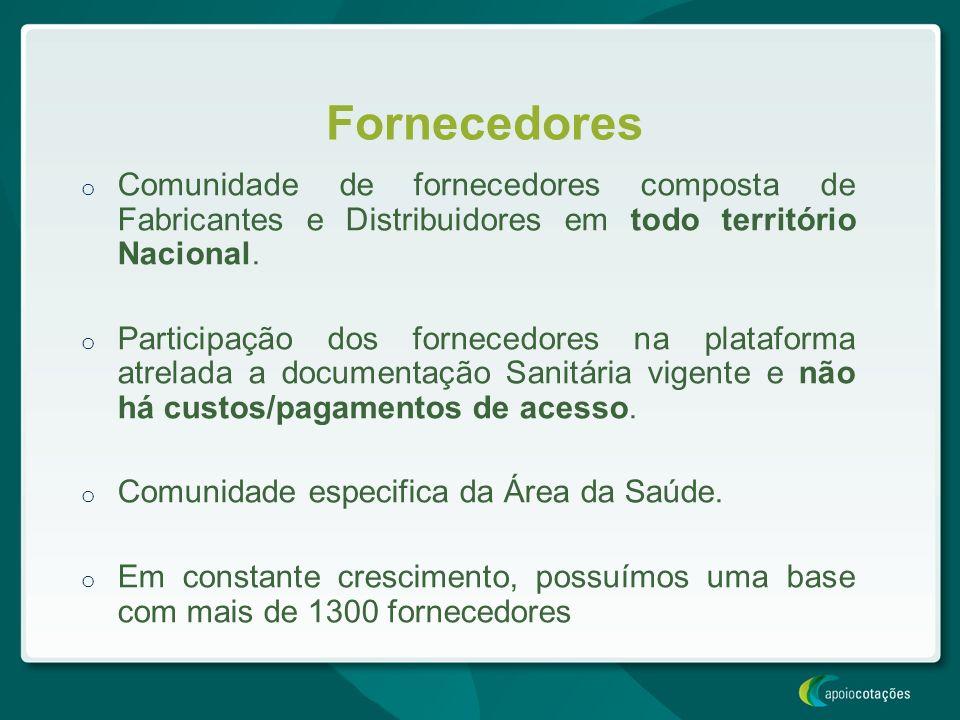 Fornecedores o Comunidade de fornecedores composta de Fabricantes e Distribuidores em todo território Nacional. o Participação dos fornecedores na pla