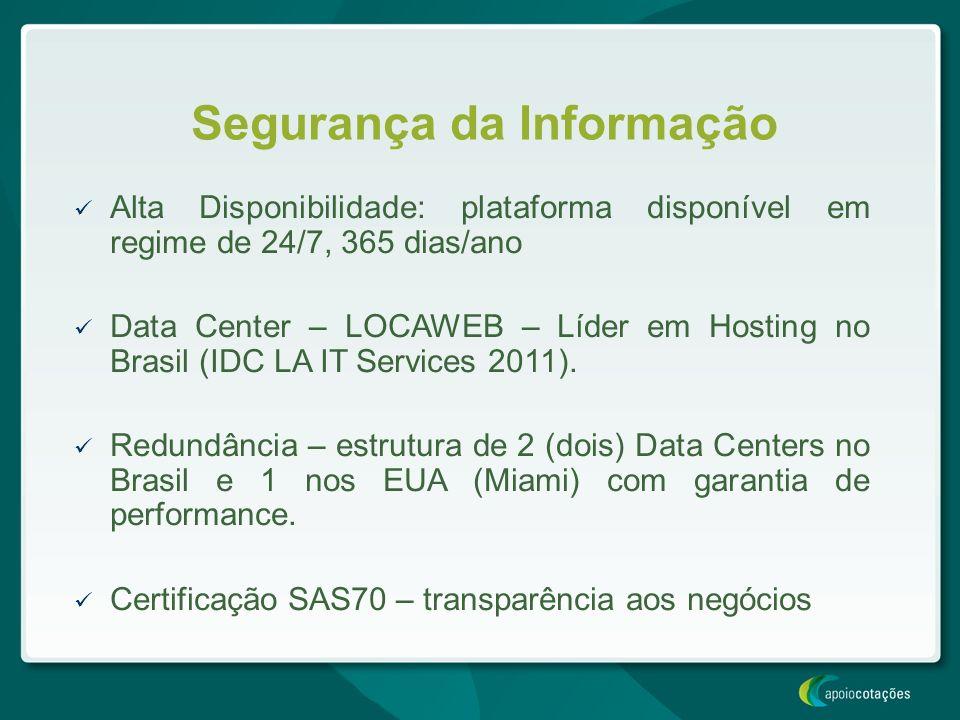 Segurança da Informação Alta Disponibilidade: plataforma disponível em regime de 24/7, 365 dias/ano Data Center – LOCAWEB – Líder em Hosting no Brasil