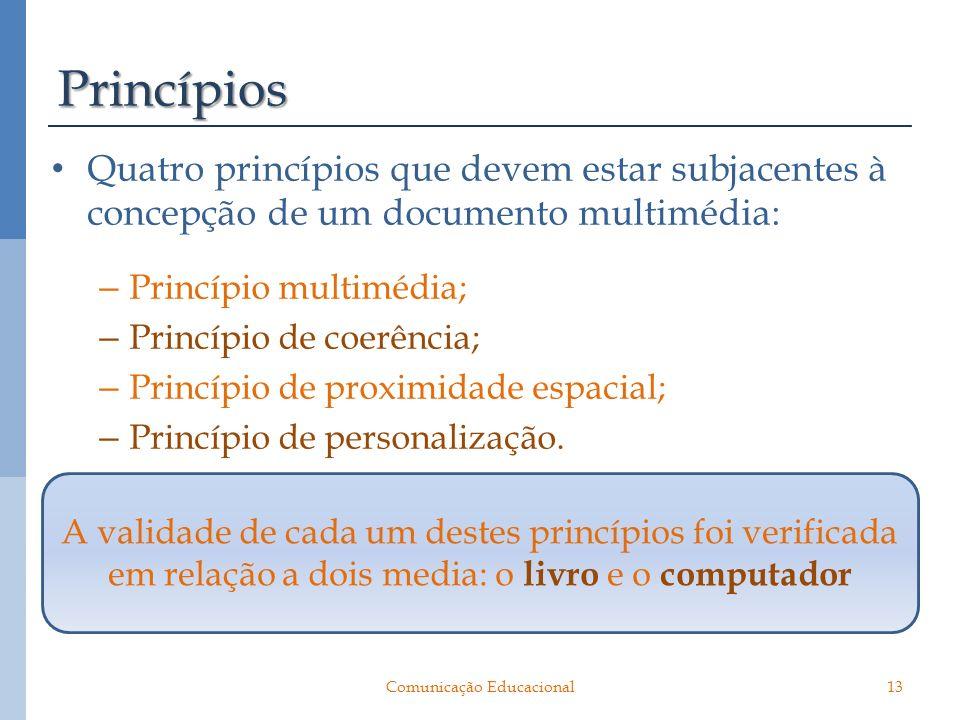 Princípios Quatro princípios que devem estar subjacentes à concepção de um documento multimédia: – Princípio multimédia; – Princípio de coerência; – P