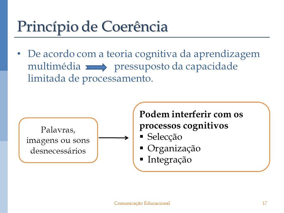 Princípio de Coerência De acordo com a teoria cognitiva da aprendizagem multimédia pressuposto da capacidade limitada de processamento. Palavras, imag