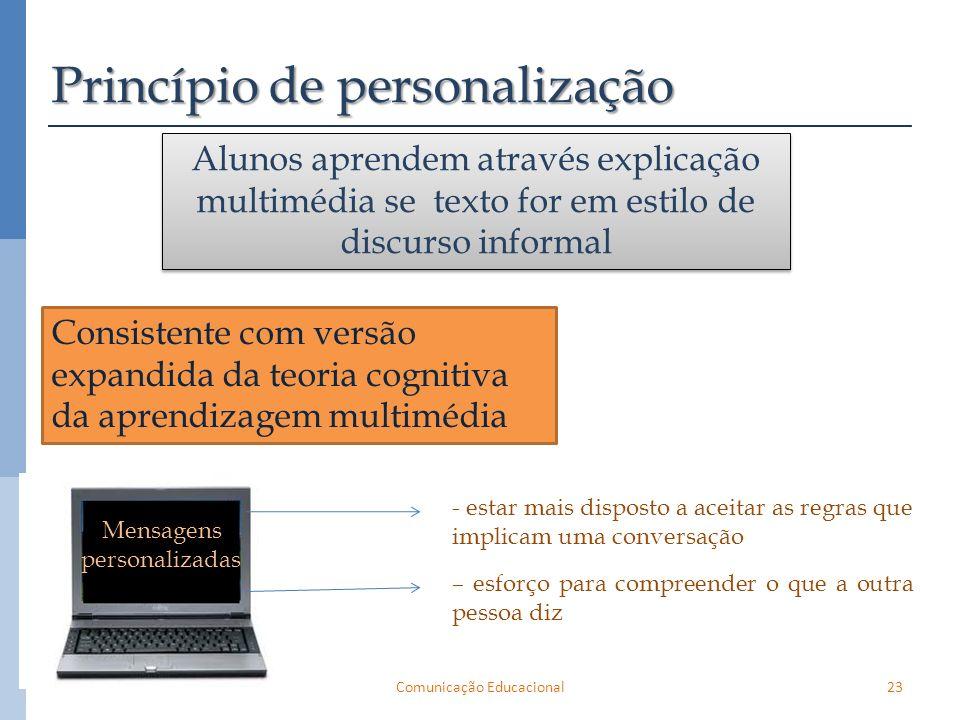 Consistente com versão expandida da teoria cognitiva da aprendizagem multimédia 23Comunicação Educacional Princípio de personalização Alunos aprendem