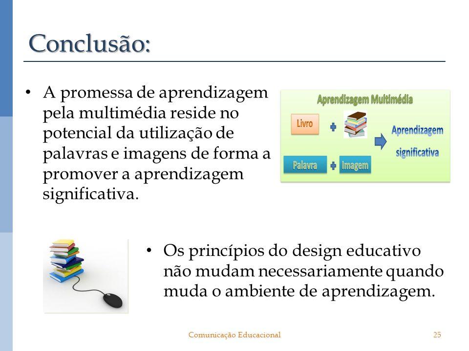 Conclusão: A promessa de aprendizagem pela multimédia reside no potencial da utilização de palavras e imagens de forma a promover a aprendizagem signi