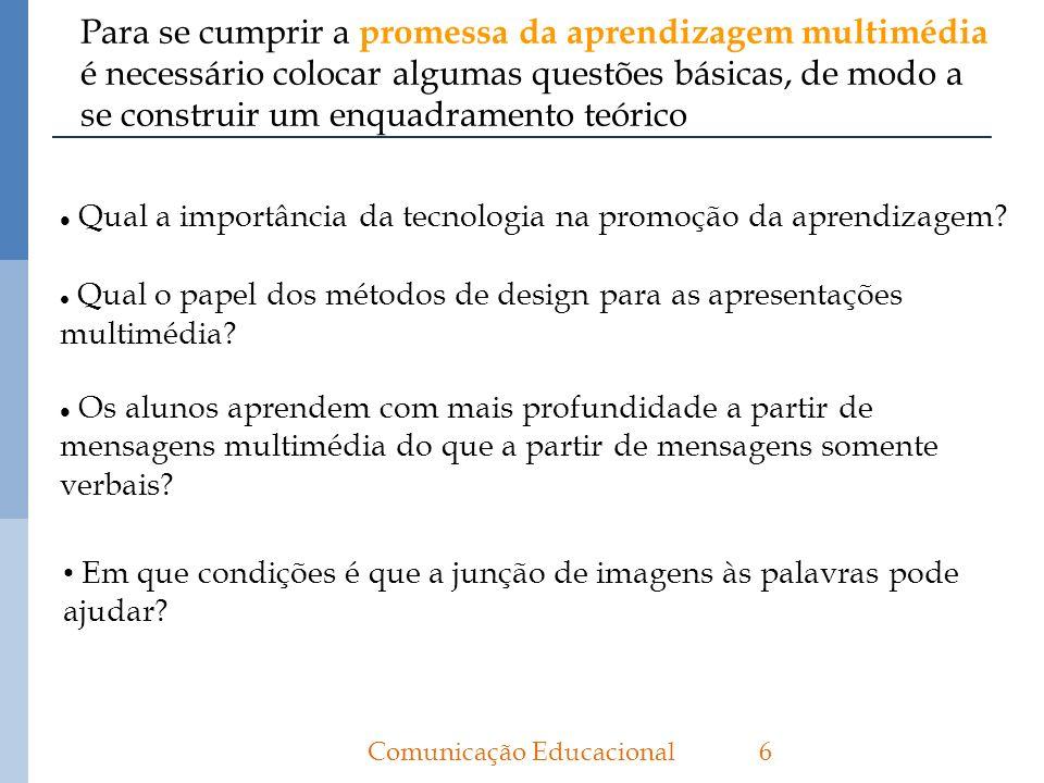 Para se cumprir a promessa da aprendizagem multimédia é necessário colocar algumas questões básicas, de modo a se construir um enquadramento teórico 6