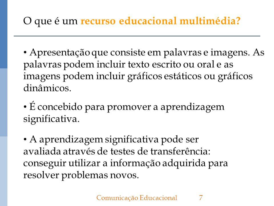 O que é um recurso educacional multimédia? 7Comunicação Educacional Apresentação que consiste em palavras e imagens. As palavras podem incluir texto e