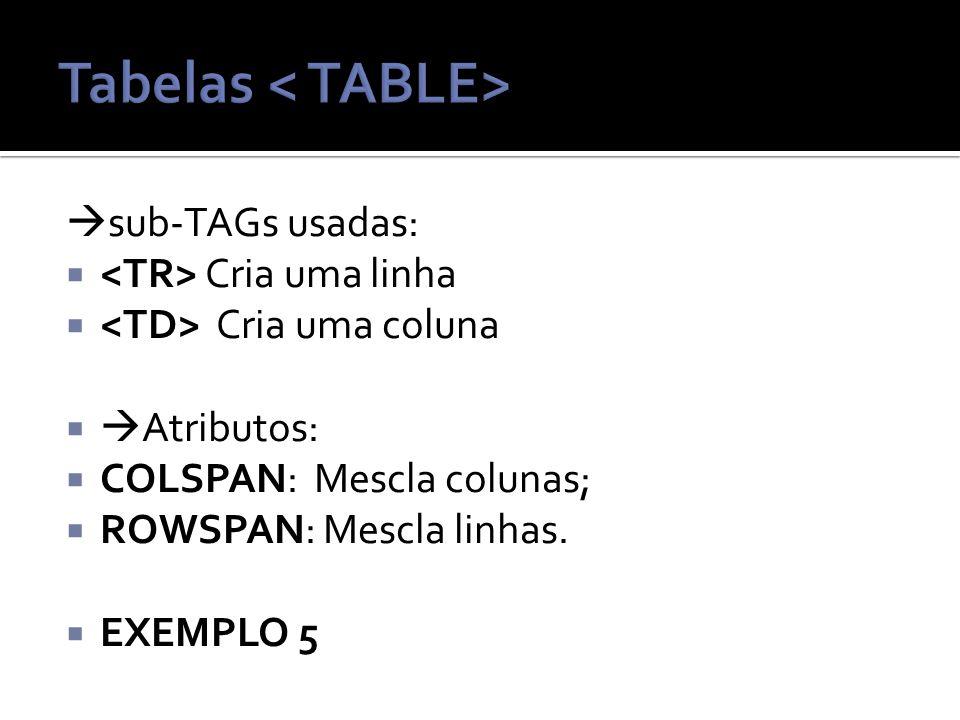 sub-TAGs usadas: Cria uma linha Cria uma coluna Atributos: COLSPAN: Mescla colunas; ROWSPAN: Mescla linhas.