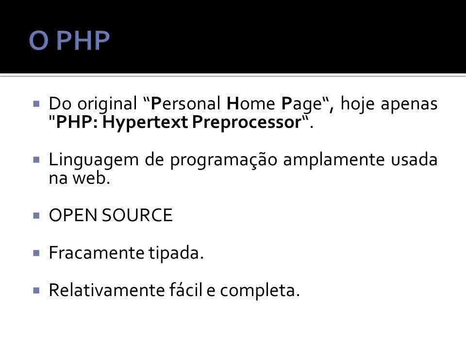 Do original Personal Home Page, hoje apenas PHP: Hypertext Preprocessor.