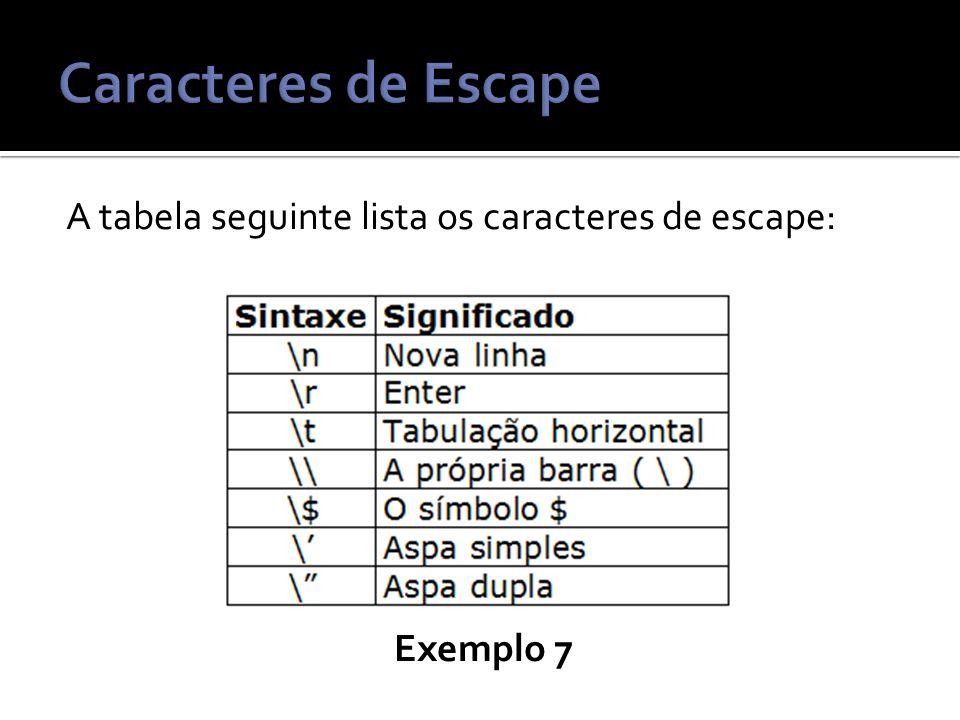 A tabela seguinte lista os caracteres de escape: Exemplo 7