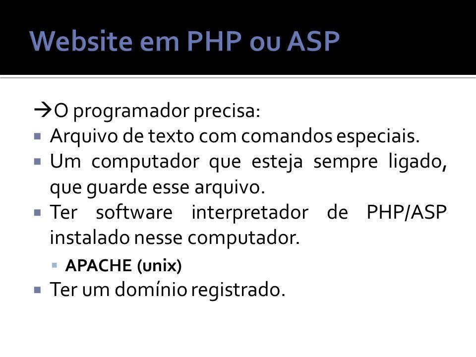 O programador precisa: Arquivo de texto com comandos especiais.