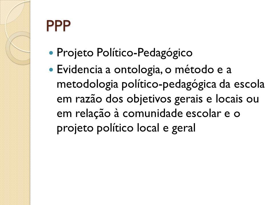 PPP Projeto Político-Pedagógico Evidencia a ontologia, o método e a metodologia político-pedagógica da escola em razão dos objetivos gerais e locais o