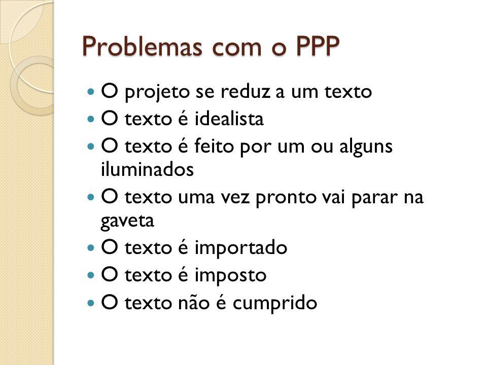 Problemas com o PPP O projeto se reduz a um texto O texto é idealista O texto é feito por um ou alguns iluminados O texto uma vez pronto vai parar na