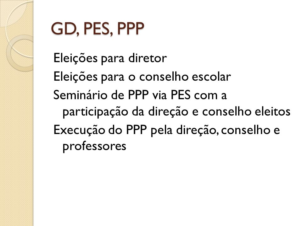 GD, PES, PPP Eleições para diretor Eleições para o conselho escolar Seminário de PPP via PES com a participação da direção e conselho eleitos Execução