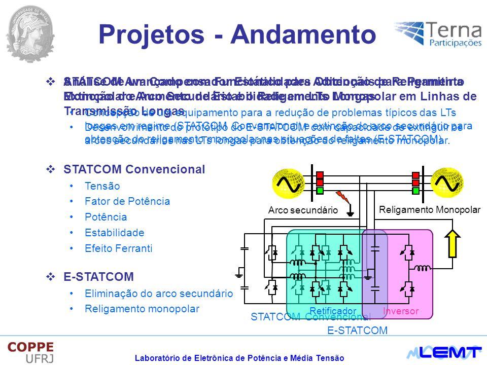 Laboratório de Eletrônica de Potência e Média Tensão STATCOM Avançado com Funcionalidades Adicionais para Permitir a Extinção do Arco Secundário e o Religamento Monopolar em Linhas de Transmissão Longas Desenvolvimento do protótipo do E-STATCOM com capacidade de extinguir os arcos secundários nas LTs longas para obtenção do religamento monopolar.