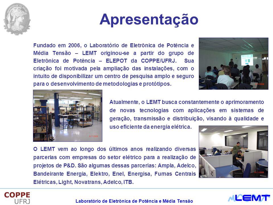 Laboratório de Eletrônica de Potência e Média Tensão Apresentação Fundado em 2006, o Laboratório de Eletrônica de Potência e Média Tensão – LEMT originou-se a partir do grupo de Eletrônica de Potência – ELEPOT da COPPE/UFRJ.