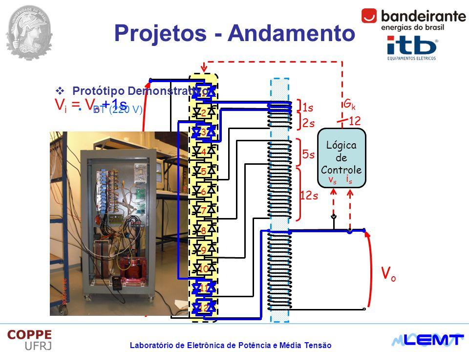 Laboratório de Eletrônica de Potência e Média Tensão Projetos - Andamento V i = V o +1s Protótipo Demonstrativo BT (220 V)