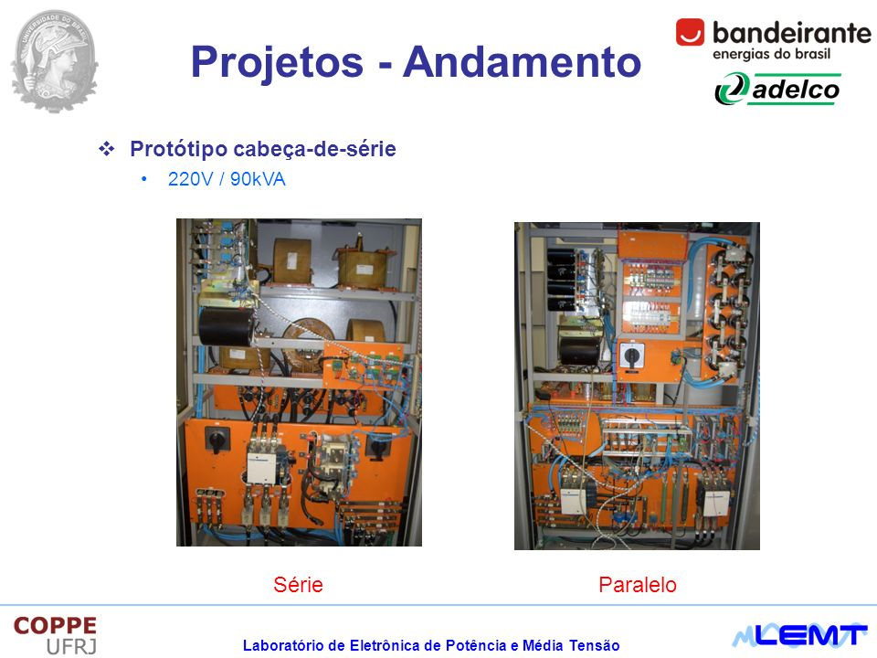 Laboratório de Eletrônica de Potência e Média Tensão Projetos - Andamento ParaleloSérie Protótipo cabeça-de-série 220V / 90kVA
