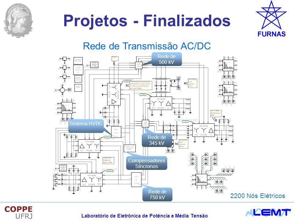 Laboratório de Eletrônica de Potência e Média Tensão Projetos - Finalizados Rede de Transmissão AC/DC Rede de 750 kV Rede de 345 kV Compensadores Síncronos Sistema HVDC Rede de 500 kV 2200 Nós Elétricos