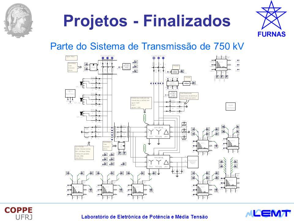 Laboratório de Eletrônica de Potência e Média Tensão Sistema SCADA para monitoramento em tempo real da propagação harmônica em Estações Conversoras HVDC Desenvolvimento e implementação de um sistema SCADA voltado para a medição e análise em tempo real da propagação de correntes harmônicas em Estações Conversoras de Sistemas de HVDC e suas interligações com o SIN Projetos - Andamento CS Interlagos T.Preto Guarulhos Banco de Capacitores Bipolo 1 Bipolo 2 500 kV Bateias Campinas 345 kV Filtros Passivos 3º/5 º Filtros Passivos (HP) Operação