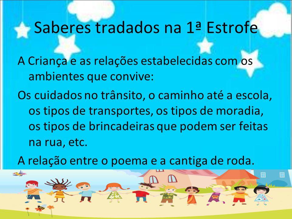Saberes tradados na 1ª Estrofe A Criança e as relações estabelecidas com os ambientes que convive: Os cuidados no trânsito, o caminho até a escola, os