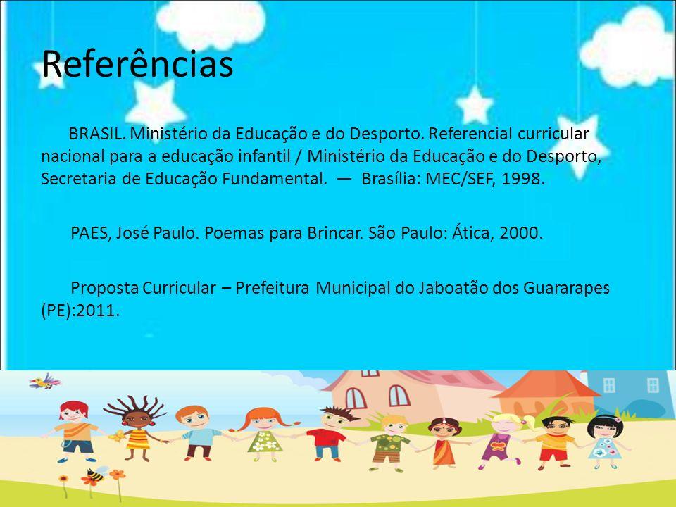 Referências BRASIL. Ministério da Educação e do Desporto. Referencial curricular nacional para a educação infantil / Ministério da Educação e do Despo
