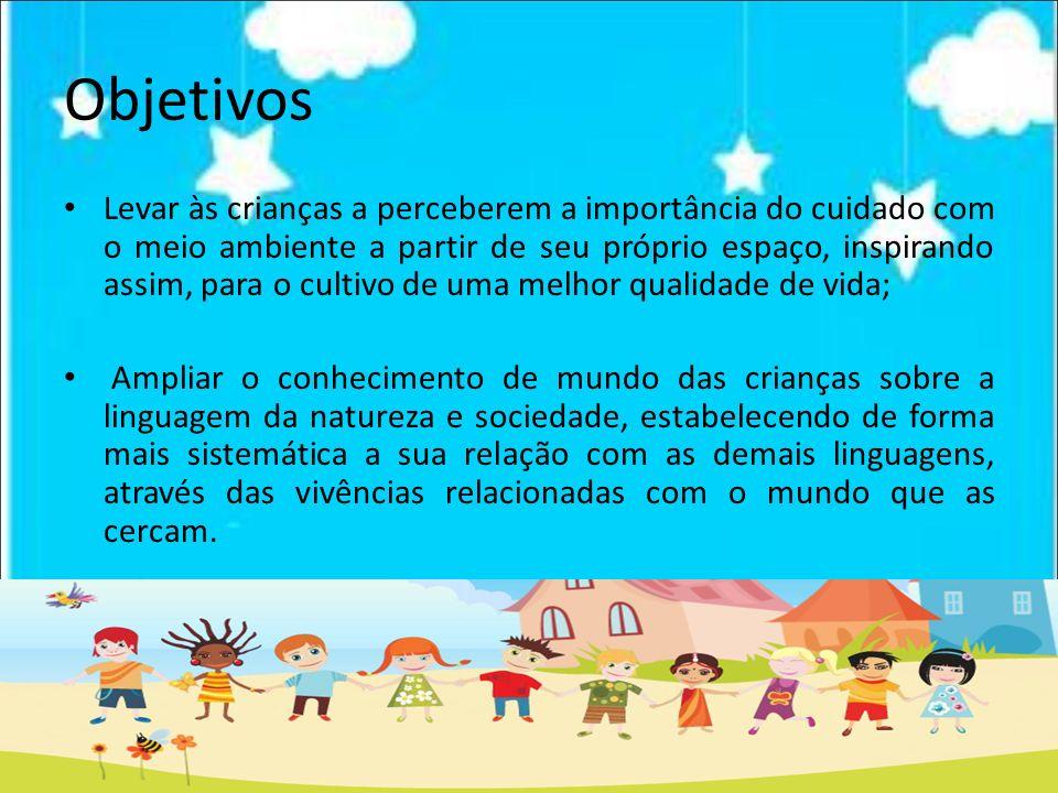 Objetivos Levar às crianças a perceberem a importância do cuidado com o meio ambiente a partir de seu próprio espaço, inspirando assim, para o cultivo