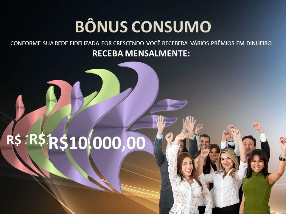 BÔNUS CONSUMO CONFORME SUA REDE FIDELIZADA FOR CRESCENDO VOCÊ RECEBERA VÁRIOS PRÊMIOS EM DINHEIRO. RECEBA MENSALMENTE: R$ 285,00