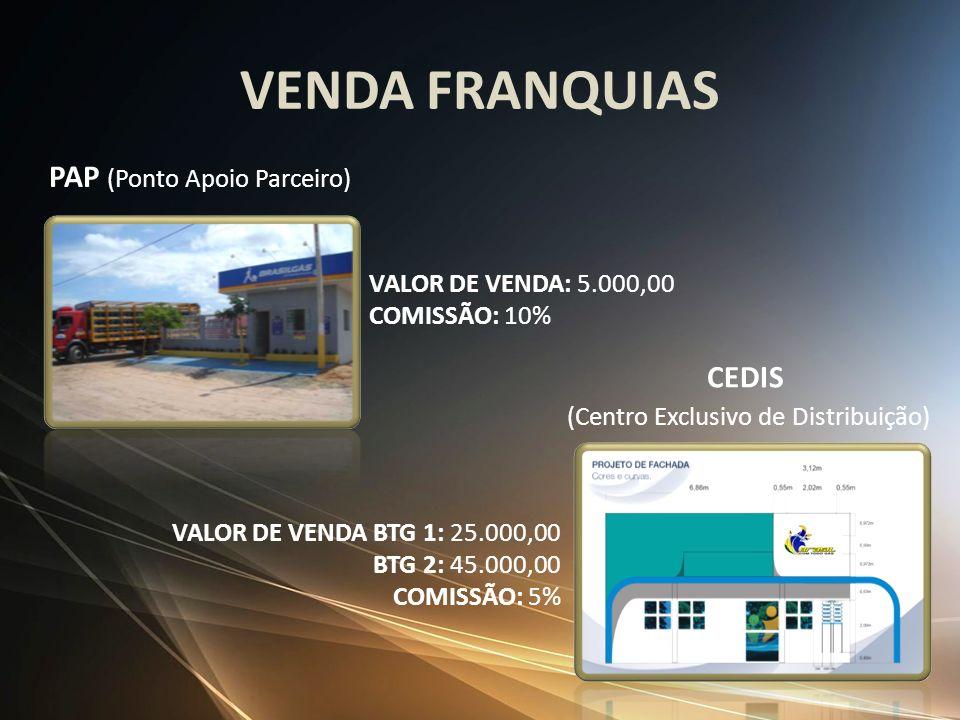 VENDA FRANQUIAS PAP (Ponto Apoio Parceiro) CEDIS (Centro Exclusivo de Distribuição) VALOR DE VENDA: 5.000,00 COMISSÃO: 10% VALOR DE VENDA BTG 1: 25.00