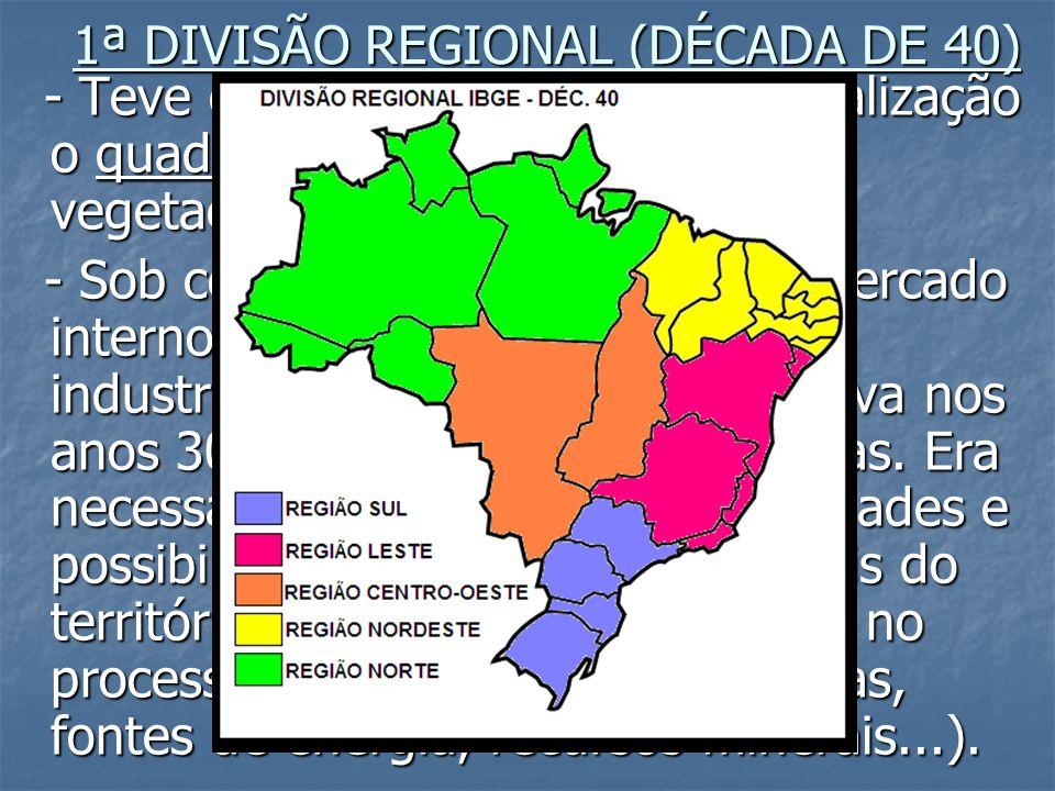 1ª DIVISÃO REGIONAL (DÉCADA DE 40) - Teve como critério para a regionalização o quadro natural (clima, relevo, vegetação...). - Teve como critério par