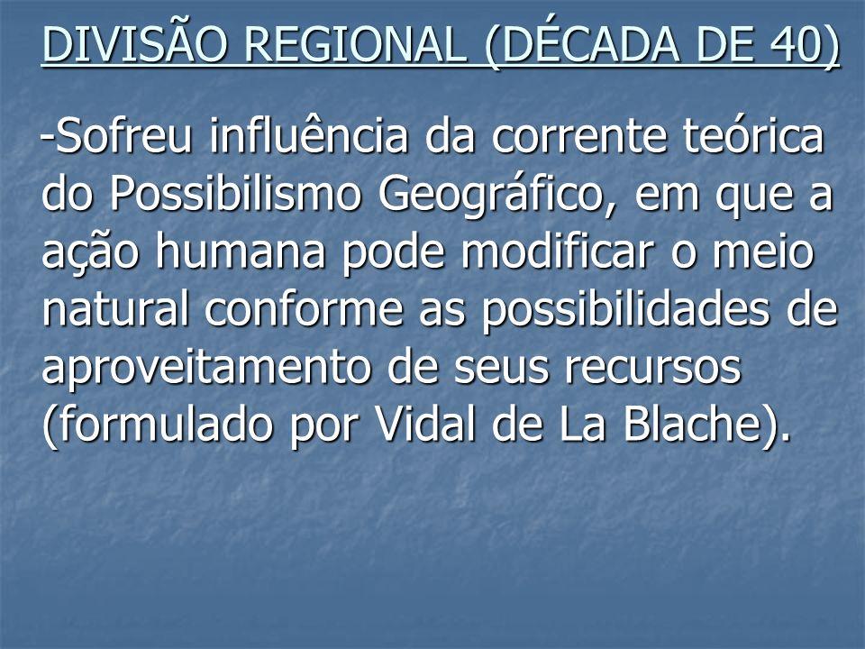 DIVISÃO REGIONAL (DÉCADA DE 40) -Sofreu influência da corrente teórica do Possibilismo Geográfico, em que a ação humana pode modificar o meio natural