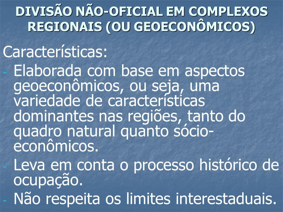 Características: - - Elaborada com base em aspectos geoeconômicos, ou seja, uma variedade de características dominantes nas regiões, tanto do quadro n