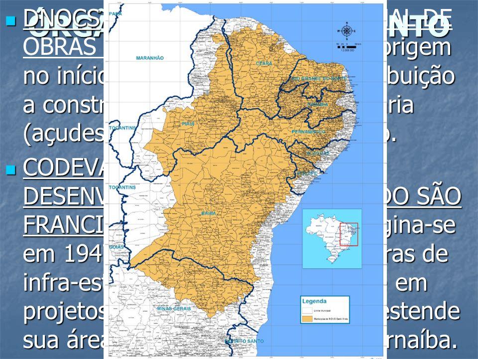 ÓRGÃOS DE PLANEJAMENTO DNOCS ( ): tem origem no início do século XX, e como atribuição a construção de obras de engenharia (açudes, estradas...) no se