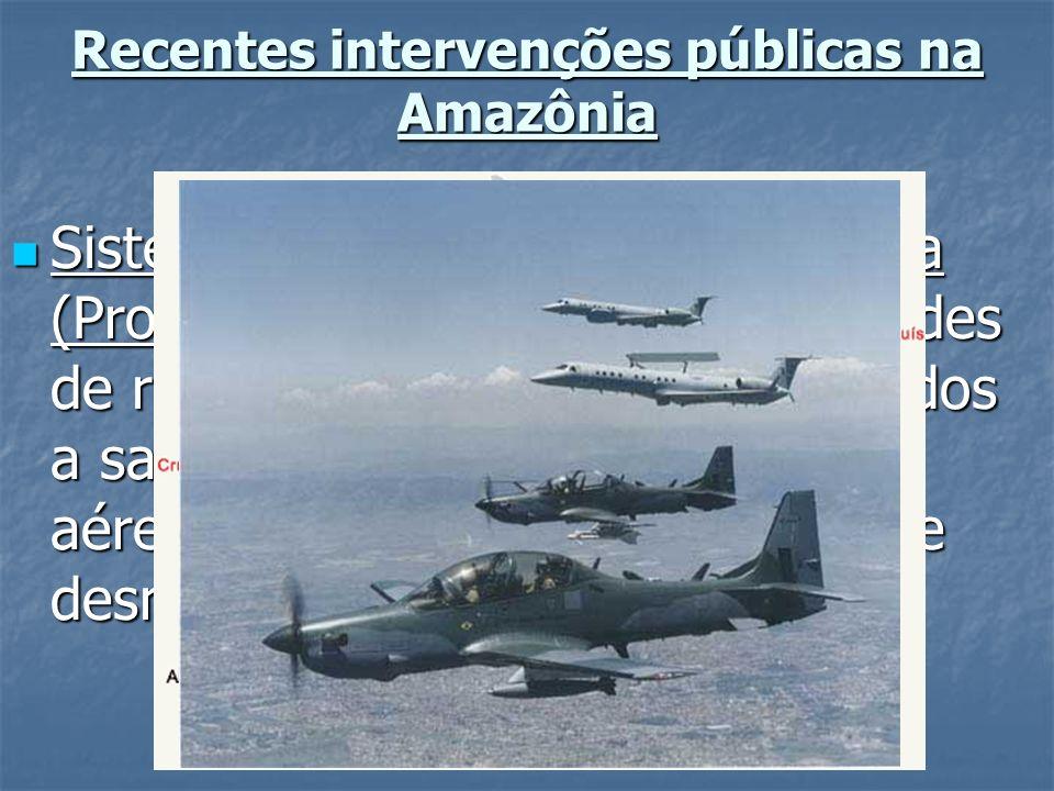 Recentes intervenções públicas na Amazônia Sistema de Vigilância da Amazônia (Projeto SIVAM): instalação de redes de radares fixos e móveis integrados