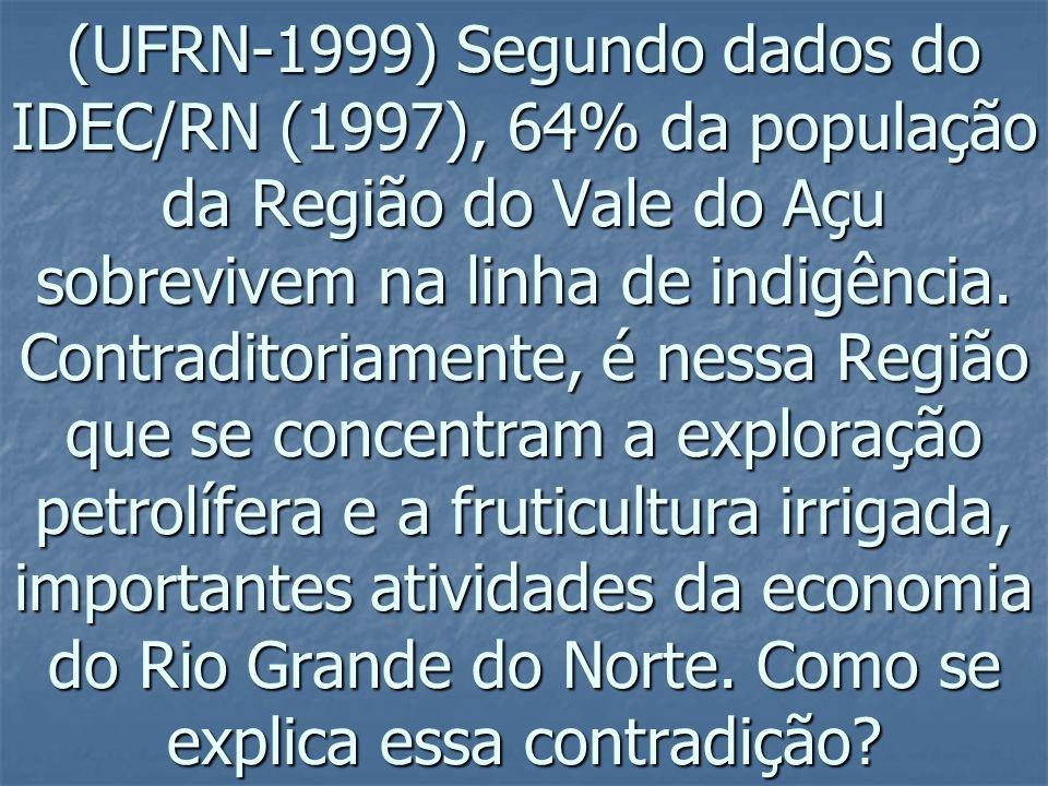 (UFRN-1999) Segundo dados do IDEC/RN (1997), 64% da população da Região do Vale do Açu sobrevivem na linha de indigência. Contraditoriamente, é nessa