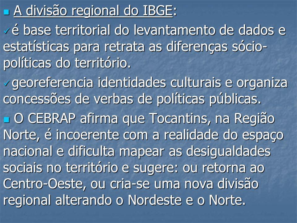 A divisão regional do IBGE: A divisão regional do IBGE: é base territorial do levantamento de dados e estatísticas para retrata as diferenças sócio- p