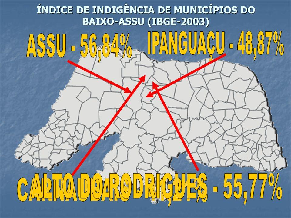 ÍNDICE DE INDIGÊNCIA DE MUNICÍPIOS DO BAIXO-ASSU (IBGE-2003)