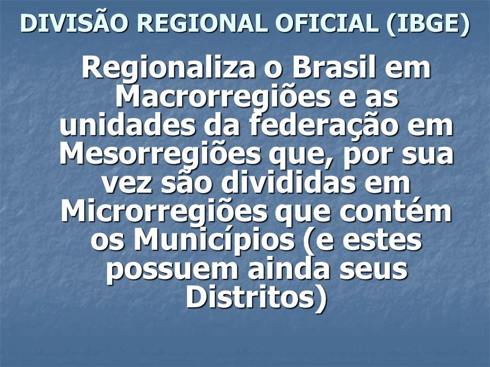DIVISÃO REGIONAL OFICIAL (IBGE) Regionaliza o Brasil em Macrorregiões e as unidades da federação em Mesorregiões que, por sua vez são divididas em Mic