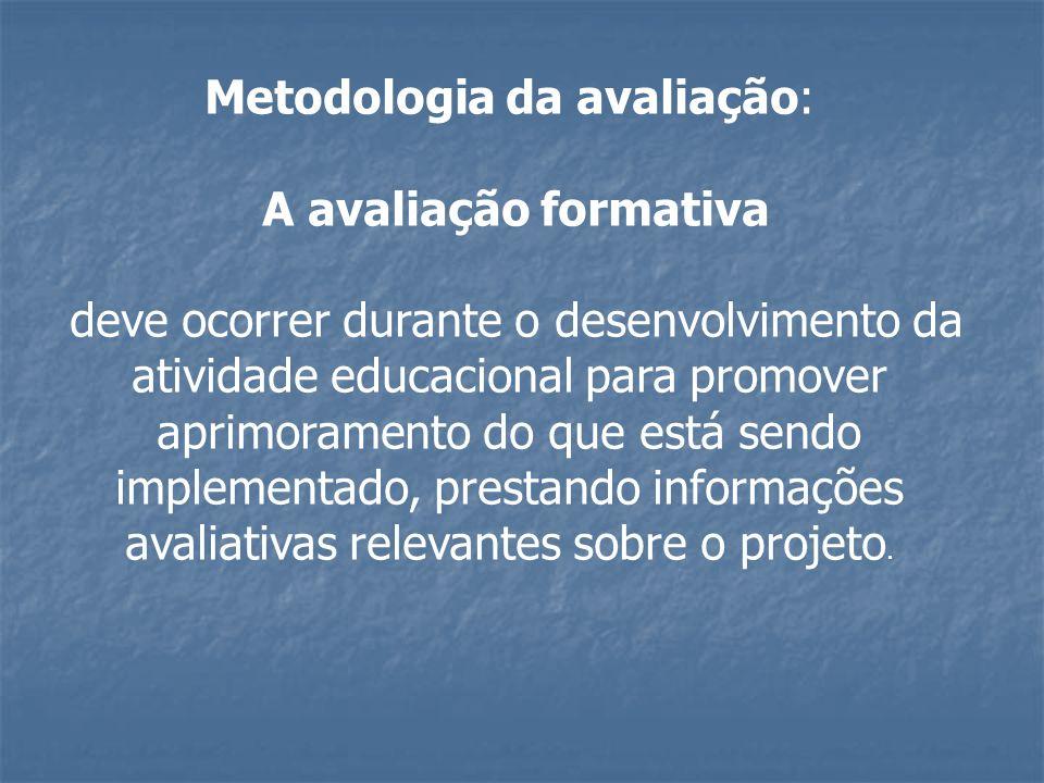 Metodologia da avaliação: A avaliação formativa deve ocorrer durante o desenvolvimento da atividade educacional para promover aprimoramento do que est