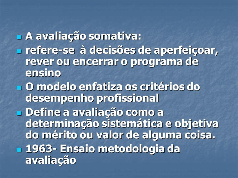 A avaliação somativa: A avaliação somativa: refere-se à decisões de aperfeiçoar, rever ou encerrar o programa de ensino refere-se à decisões de aperfe
