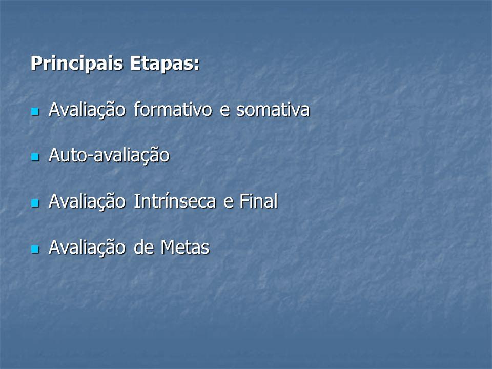 Principais Etapas: Avaliação formativo e somativa Avaliação formativo e somativa Auto-avaliação Auto-avaliação Avaliação Intrínseca e Final Avaliação