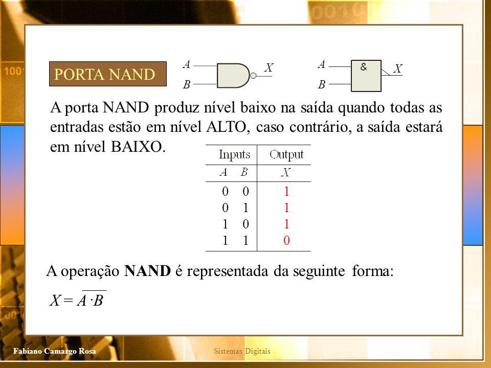 Sistemas DigitaisFabiano Camargo Rosa A porta NAND produz nível baixo na saída quando todas as entradas estão em nível ALTO, caso contrário, a saída estará em nível BAIXO.