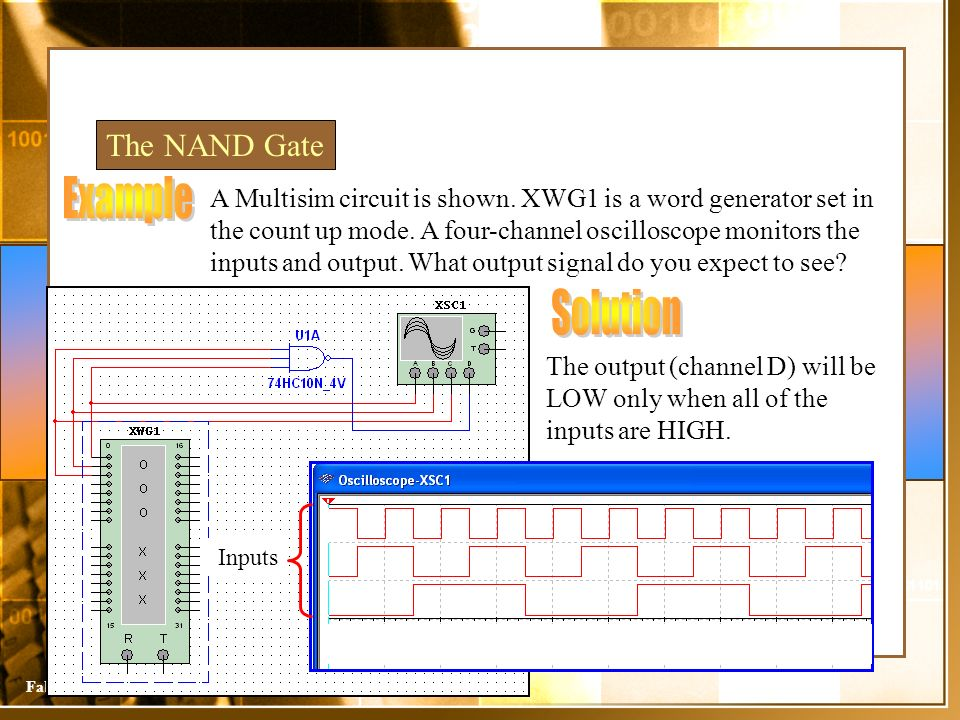 Sistemas DigitaisFabiano Camargo Rosa The NAND Gate A Multisim circuit is shown. XWG1 is a word generator set in the count up mode. A four-channel osc