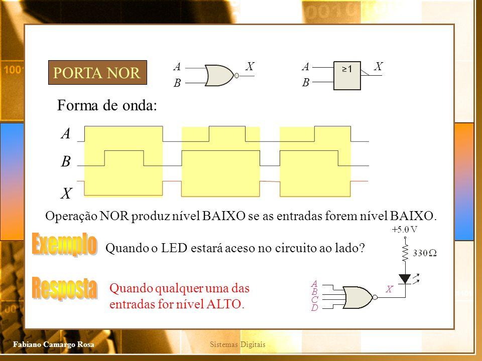 Sistemas DigitaisFabiano Camargo Rosa Forma de onda: A X Operação NOR produz nível BAIXO se as entradas forem nível BAIXO. PORTA NOR B Quando o LED es