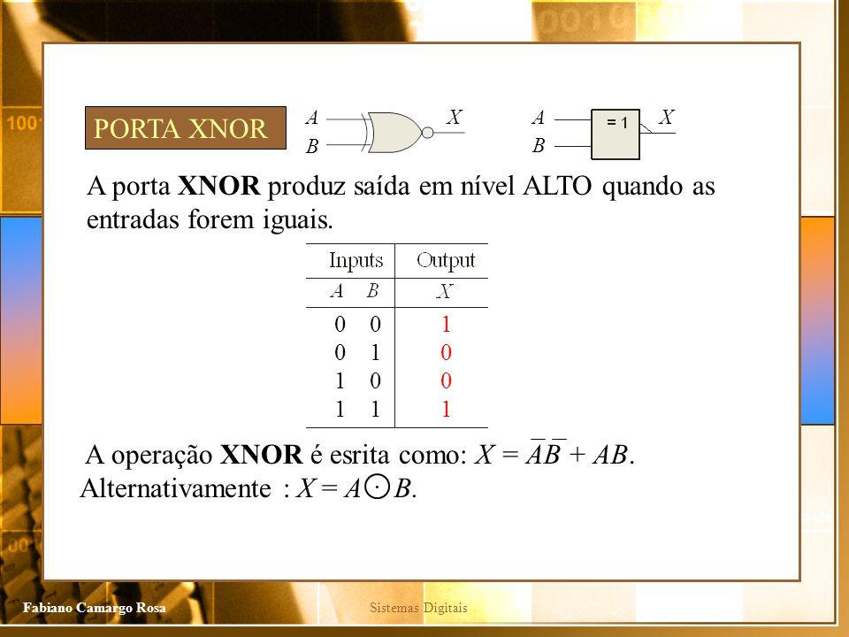 Sistemas DigitaisFabiano Camargo Rosa A porta XNOR produz saída em nível ALTO quando as entradas forem iguais. PORTA XNOR 0 0 1 1 0 1 1 0 0 1 A B XA B