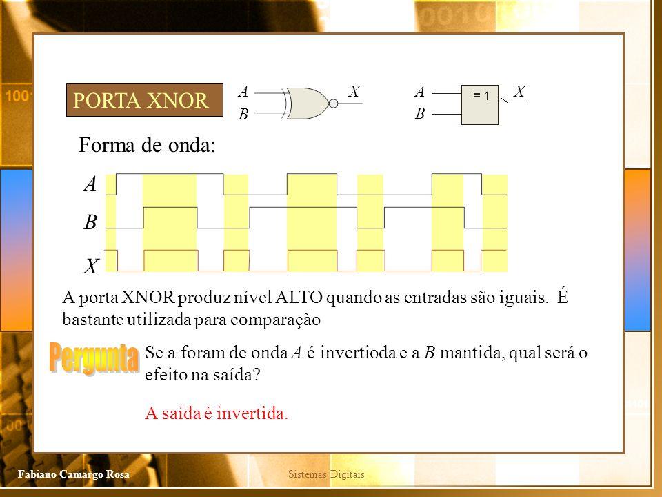 Sistemas DigitaisFabiano Camargo Rosa Forma de onda: A X A porta XNOR produz nível ALTO quando as entradas são iguais. É bastante utilizada para compa