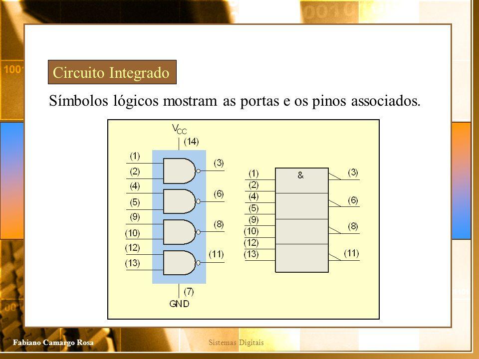 Sistemas DigitaisFabiano Camargo Rosa Símbolos lógicos mostram as portas e os pinos associados.